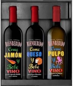 Estuche de vino Bienbebido 3 botellas (Jamón+Queso+Pulpo)