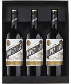 Estuche de vino Hacienda López de Haro Crianza 3 botellas