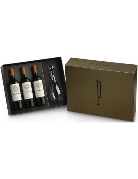Estuche de vino 3 botellas La Montesa + Decantador