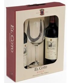 Estuche de vino Coto de Imaz Reserva 2 botellas + 1 copa