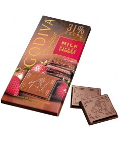 Godiva Tableta de chocolate con leche y fresas 31% Cacao