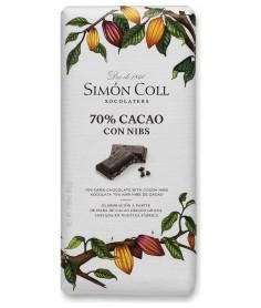 Tableta Chocolate 70% Cacao con Nibs